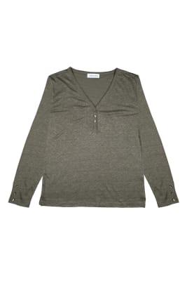 Button Linen Sweater