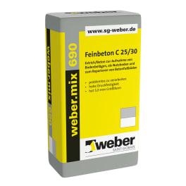 weber.mix 690 C25/30-5mm Feinbeton; XC 4, XF 1, XA 1 eine Palette
