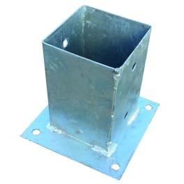 T&J Pfostenträger zum Aufschrauben 9 x 9 cm feuerverzinkt, mit rechteckiger Grundplatte