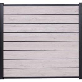 T&J GOTLAND-Serie WPC-Steckzaunsystem Zaunset für ein Zaunfeld 180 x 175 cm SAND / ANTHRAZIT, kartonverpackt