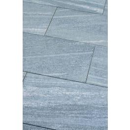 Seltra Gneis Terrassenplatten BIASCA -satiniert-, 80x40x3cm silbergrau-liniert