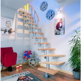 DOLLE Systemtreppe Dublin, Birke, versiegelt, 1/2 gewendelt 12 Stufen