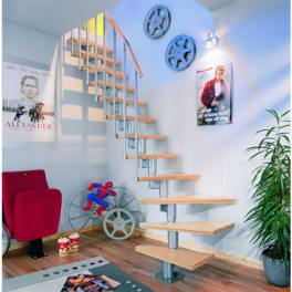 DOLLE Systemtreppe Dublin, Birke, versiegelt, 1/4 gewendelt 12 Stufen