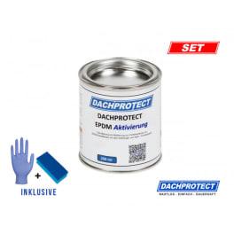 DACHPROTECT EPDM Aktivierung 250 ml + Schwamm & Handschuh für Nahtprodukte (bis 18 m Naht)