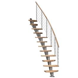 DOLLE Mittelholmtreppen Berlin Eiche, Geschosshöhe 222 - 270 cm, mittelgrau metallic, Edelstahlgeländer