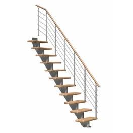 DOLLE Mittelholmtreppen Frankfurt Eiche, gerade, Geschosshöhe 222 - 258 cm, Treppenbreite 65 cm, mittelgrau metallic, Edelstahlgeländer