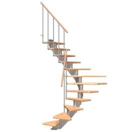 DOLLE Mittelholmtreppen Hamburg Buche, 1/2 gewendelt, Mittelgrau metallic, Stufenbreite 85 cm, Geschosshöhe 222 - 258 cm, Einzelstabgeländer