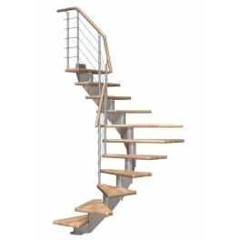DOLLE Mittelholmtreppen Hamburg Eiche, 1/2 gewendelt, Stufenbreite 75, Geschosshöhe 222 - 258 cm, mittelgrau metallic, Edelstahlgeländer
