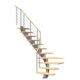 DOLLE Mittelholmtreppen Hamburg Birke, 1/4 gewendelt,Stufenbreite 85, Geschosshöhe 222 - 258 cm, mittelgrau metallic, Einzelstabgeländer