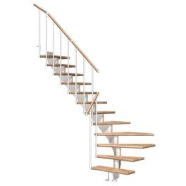 DOLLE Mittelholmtreppen Hamburg Eiche, 1/4 gewendelt Stufenbreite 85, Geschosshöhe 222 - 258 cm, weiss, Einzelstabgeländer