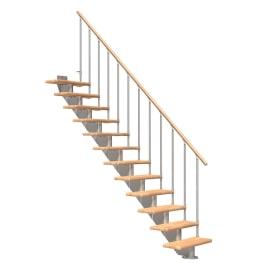 DOLLE Mittelholmtreppen Hamburg Buche, gerade, Mittelgrau metallic, Stufenbreite 85 cm, Geschosshöhe 222 - 258 cm, Einzelstabgeländer