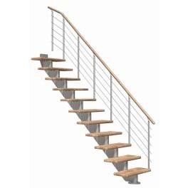 DOLLE Mittelholmtreppen Hamburg Eiche, gerade, mittelgrau metallic, Stufenbreite 75, Geschosshöhe 240 - 279 cm, Edelstahlgeländer