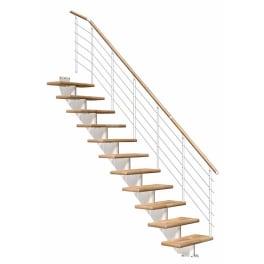DOLLE Mittelholmtreppen Hamburg Eiche, gerade, Stufenbreite 85, Geschosshöhe 240 - 279 cm, weiss, Edelstahlgeländer