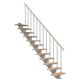 DOLLE Mittelholmtreppen Hamburg Eiche, gerade, Stufenbreite 75, Geschosshöhe 240 - 279 cm, mittelgrau metallic, Einzelstabgeländer