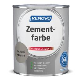 RENOVO Zementfarbe seidenglänzend steingrau RAL 7030