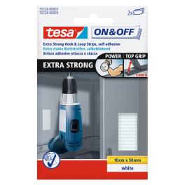 tesa® Klett Klebepads, Haft- und Flauschteil, extra stark, weiss, 5cmx10cm
