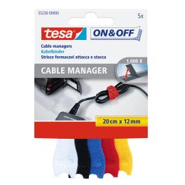 tesa® ON & OFF Klett Kabelbinder, bunt, 5 Stück, 20cm x 12mm