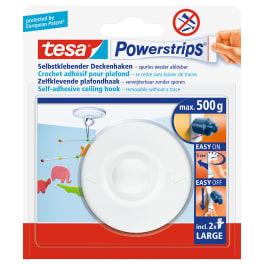 tesa® Deckenhaken mit Powerstrips, selbstklebend, wieder ablösbar, bis 0,5kg