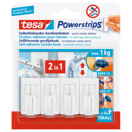 tesa® Powerstrips Gardinenhaken, selbstklebend, weiss, 4 Stück