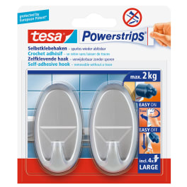 tesa® selbstklebender Haken, bis 2kg, wieder ablösbar, oval, matt-chrom, 2 Stück