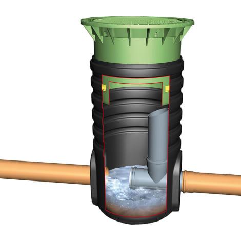 Drosselablaufschacht PKW-befahrbar mit Teleskop und Guss-Abdeckung 1053935