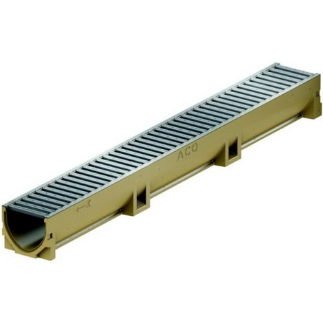 ACO Self EuroLine Rinne 1,0 m mit Stahl verzinktem Stegrost 1044308