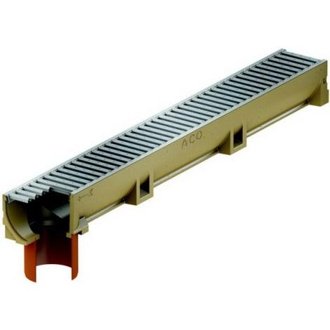 ACO Self EuroLine Rinne 1 m mit Stutzen und Stahl verzinktem Stegrost 1044310