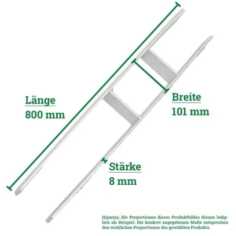 H-Pfostenträger 101 x 800 x 8,0 mm mit Schrauben 1002107