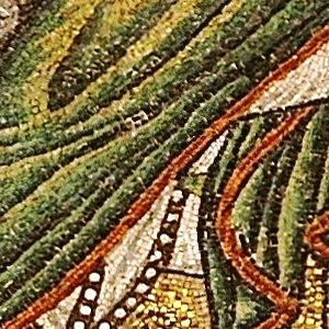 """The Three Wise Men (named Balthasar, Melchior, and Gaspar); detail from: """"Mary and Child, surrounded by angels"""""""