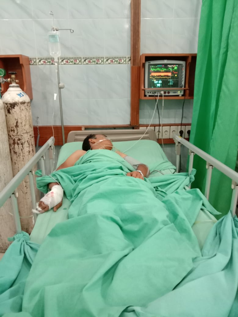 Nopri Situmeang menjalani perawatan di rumah sakit, usai dibantu RHS.