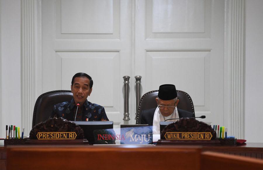 Presiden Joko Widodo dan Wapres Ma'ruf Amin di Kantor Presiden, Jakarta (10/12/2019) . Foto Antara