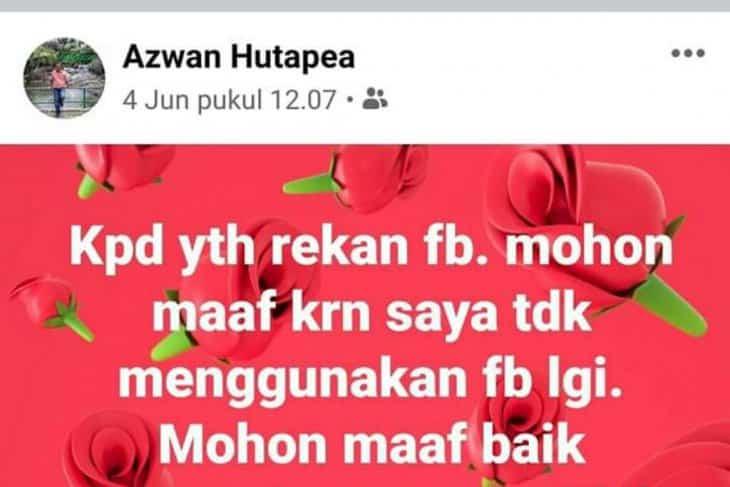Postingan terakhir Ketua Komisi A DPRD Labuhanbatu Utara, Drs H Azwan Hutapea, beberapa hari sebelum meninggal dunia setelah sebelumnya menjalani perawatan medis di Rantauprapat dan Medan