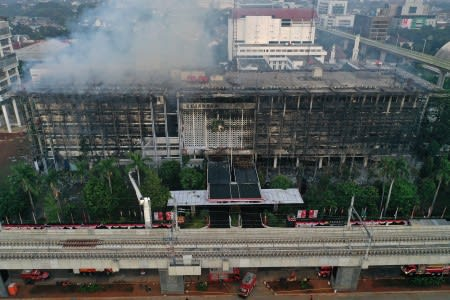 Kantor Kejagung Terbakar, 23 Agustus 2020. Foto Antara