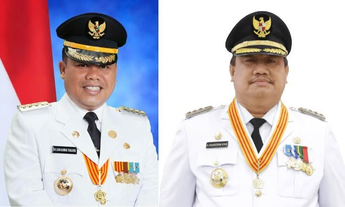 Bupati Labusel Wildan Aswan Tanjung dan Bupati Labura Khairuddin Syah. Foto Ist.