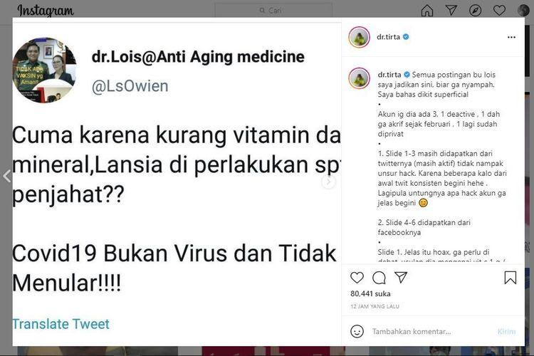 Dokter Lois Owen membuat heboh dunia maya karena menyebarkan informasi bahwa Covid-19 bukanlah disebabkan virus. Sang dokter pun menyebut banyaknya pasien meninggal di rumah sakit bukan karena Covdi-19, melainkan interaksi obat-obatan yang berlebihan.(Instagram Dr.Tirta)
