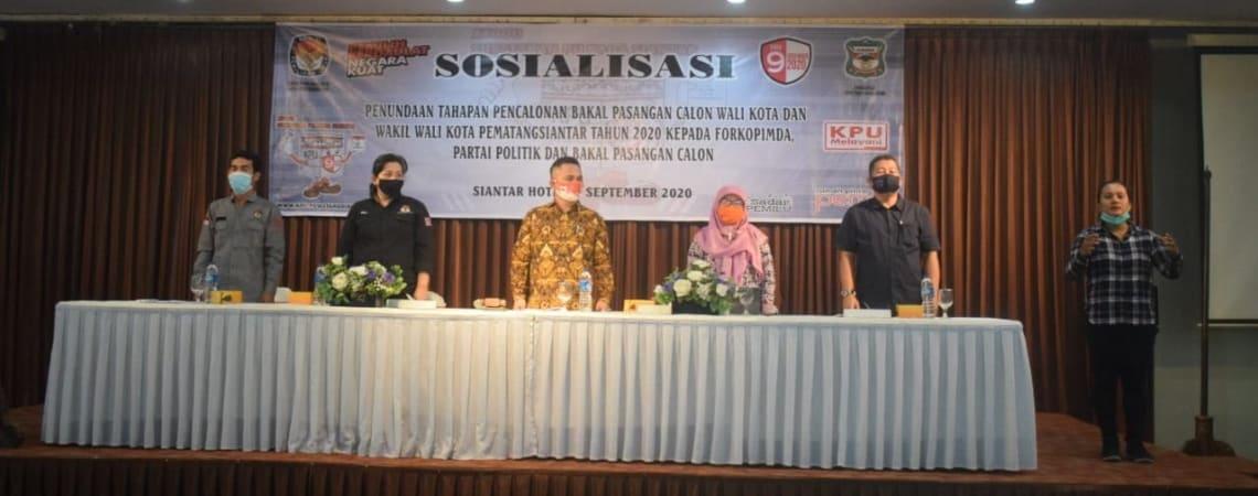 KPU Siantar saat menggelar sosialisasi, Selasa 8 September 2020.
