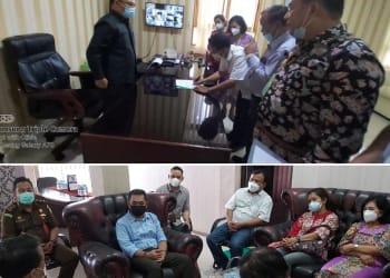 Keterangan foto 1. Rektor UHKBPNP saat menandatangani MOU di PN Siantar.  2. Rektor UHKBPNP dan rombongan foto bersama dengan Kajari Siantar.