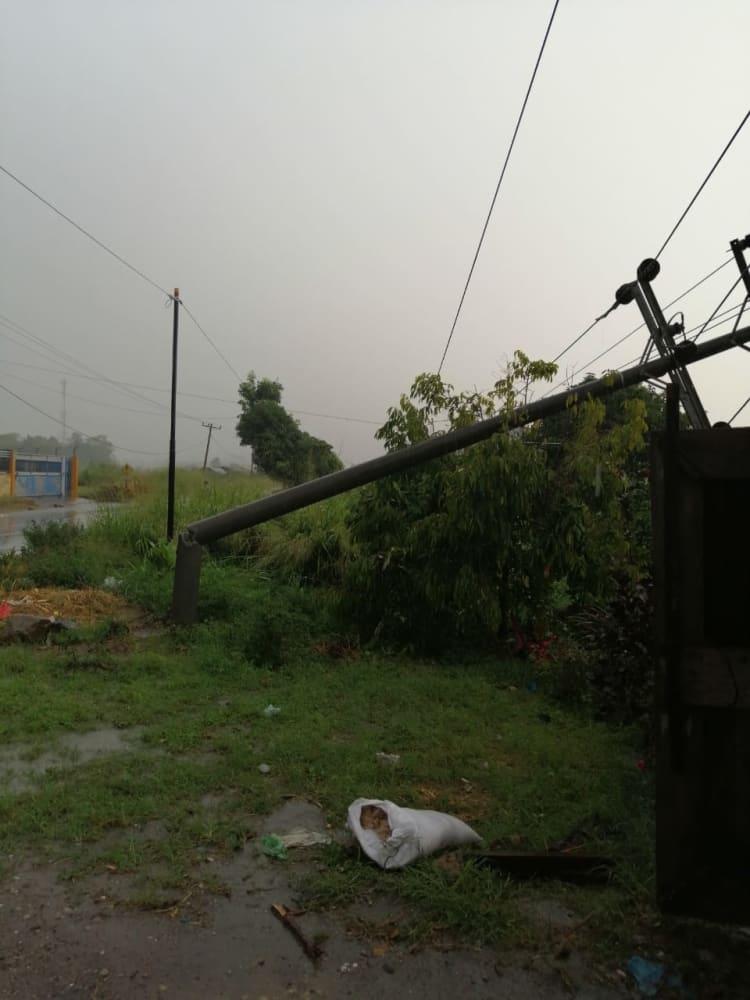 Tiang listrik tumbang akibat hujan dan angin kencang
