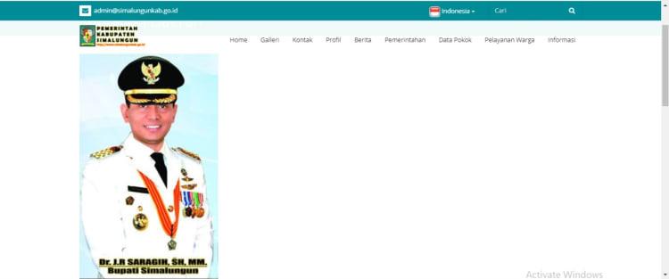 Tangkapan layar website pemkab Simalpungun. Dok: Dekrit.id