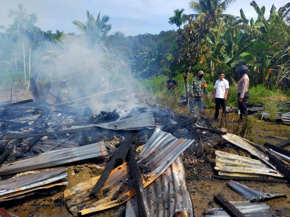 Dua rumah berdinding papan hangus terbakar di Tapu