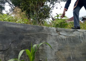 Kondisi fisik pengerjaan  Tembok Penahan Tanah di Sinuparan Dusun III