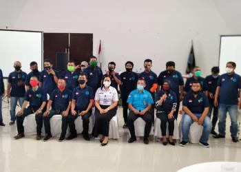 BNN Pematangsiantar bersama para jurnalis yang dilantik, Selasa 25 Agustus 2020
