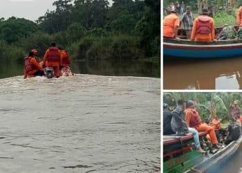 Tim SAR saat melakukan pencarian terhadap Ponidi, korban yang tewas diterkam buaya. Foto Istimewa/dekrit