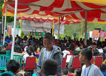 Suasana pembukaan Jambore Anak Sekolah Minggu HKBP di Jetuwn, 23/6/2019
