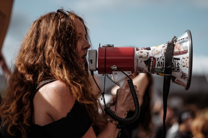 Female campaigner with a megaphone