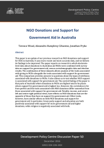 NGO Donations and Support for Government Aid in Australia