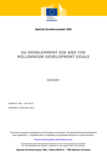 Special Eurobarometer 405: EU Development Aid and the Millennium Development Goals