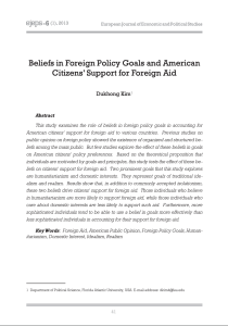 Beliefs in Foreign Policy Goals and American Citizens' Support for Foreign Aid