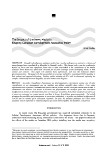 The Impact of the News Media in Shaping Canadian International Development Policy