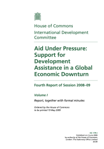 Aid Under Pressure: Support for Development Assistance in a Global Economic Downturn